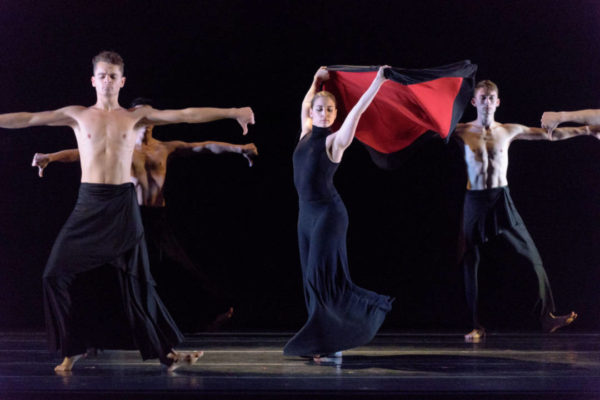 Verb Ballets performs Bolero. Choreography: Heinz Poll; Dancers: Christina Lindhout (center) Michael Escovedo (left) Benjamin Shepard (right) (Photo: Dale Dong)